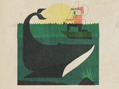 Whaling Songs vintage retrosupply cmyk novel fish dick moby harpoon boat ocean whale