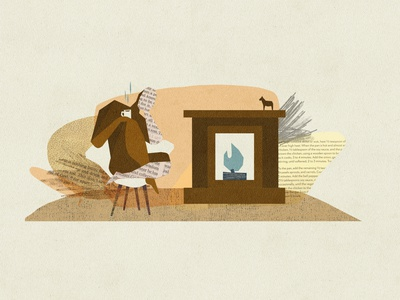 Coziness Collage horse dala collage modern century mid chair coffee fire koselig winter cozy