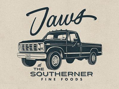 Jaws badge logo lettering script ford pickup truck