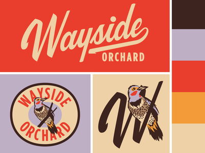 Wayside Orchard badge brand logo script lettering michigan bird flicker northern orchard