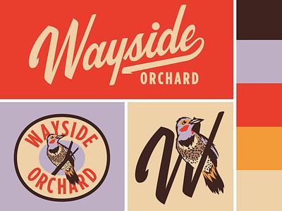 Wayside Orchard badge brand logo script lettering michigan bird flicker northern orchard
