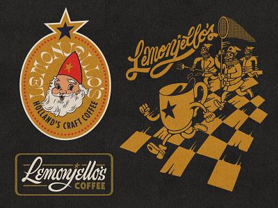 New LJ's Stuff gnome mug script cafe coffee badge brand logo jello lemon