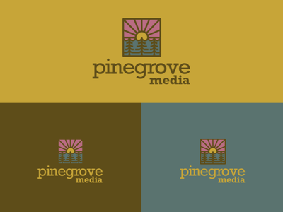 pinegrove media icon badge logo tree water sun media grove pine