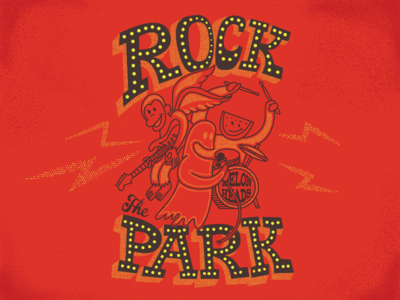 Rock The Park lettering hand drum guitar strat band melon water monkey ghost park rock