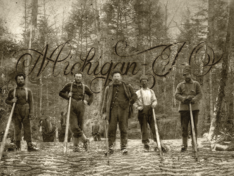 Michigan-I-O tree folk hand letter type script vintage axe jack lumber michigan