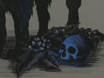 Mandragora Officinarum magic ritual hound dog flowers skull mandragora mandrake witchcraft illustration