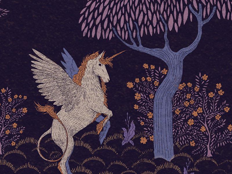The Unicorn design tapestry flower tree mythological myth pattern illustration fantasy horse pegasus unicorn