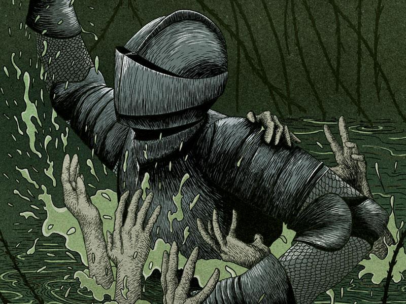 Outlandish Knight Dribble Shot childballads knight bookillustration editorial illustration