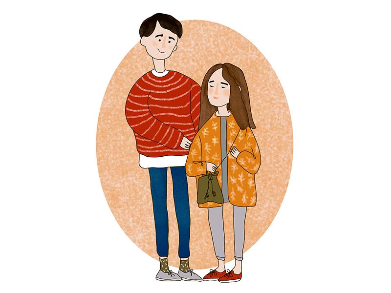 Couple graphic design autumn cozy warm sketch minimalis couple illustration