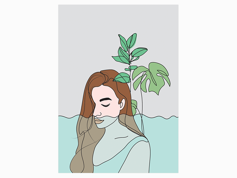 Water cycle in nature graphic design desigh sketch plant girl illustration
