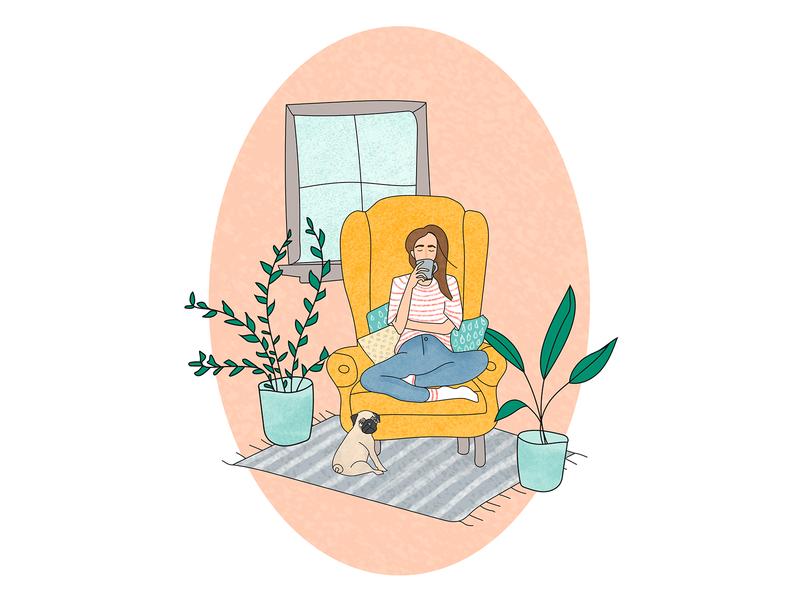 Home, tea, plants and pug design graphic design sketch illustration