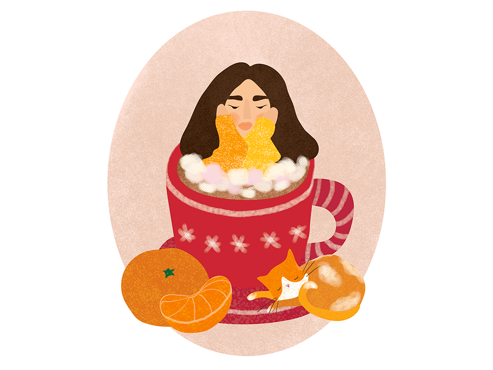 Cocoa, tangerines and a cat christmas cocoa cup tangerine сat girl sketch graphic design illustration