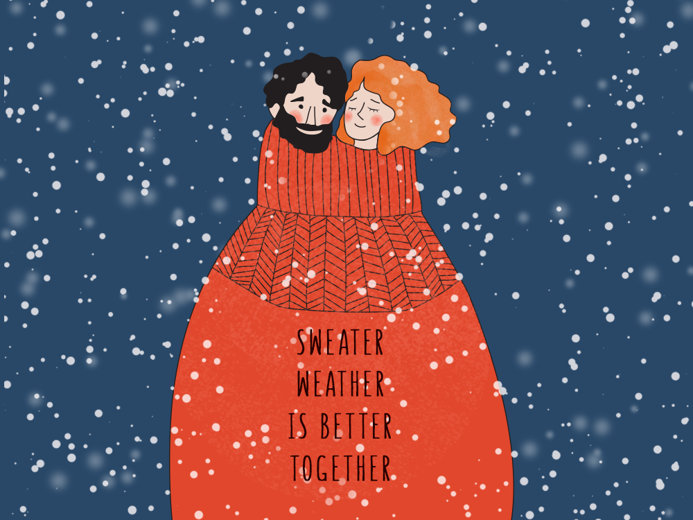 Sweater weather ... xmas snow couple winter illustration graphic design sketch
