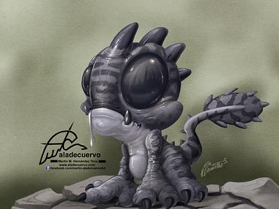 Little Dragon characterdesign ilustracion aladecuervo cartoon illustration procreateapp ipadpro humorous cartoon dragon