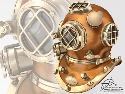 Deep diver Helmet illustration helmet digitalpaint digitalart aladecuervo deer illustration buzo helmeth deep diving diving diver