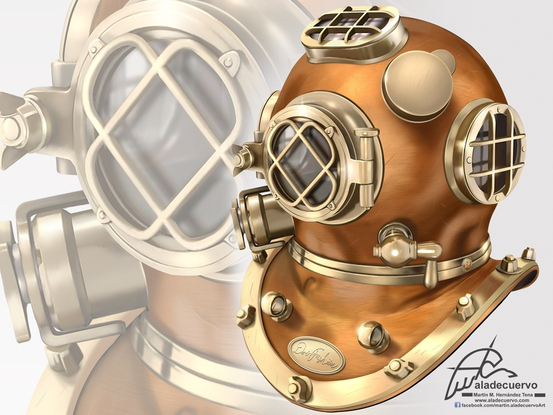 Deep diver Helmet illustration helmet digitalpaint digitalart aladecuervo deer illustration buzo helmeth deep diving diving diver