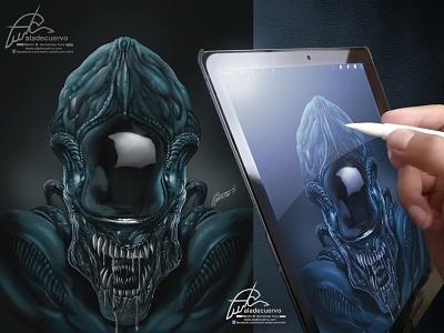Alien fanart aladecuervo illustration scifi monster movie creatures alien procreate