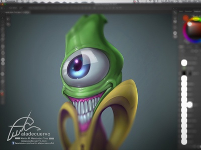 The thing sneak peek character concept big-eye green smile humorous cartooning creature