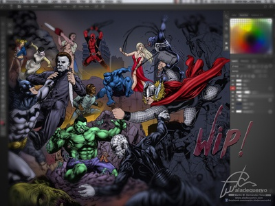 Zalemm Poster wip porer crossover deadpool wolf hulk jason batman dc-comics marvel comic-colors haloween