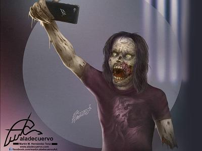 Zombie Selfie halloween mosnter alive dead cell phone selfie zombie