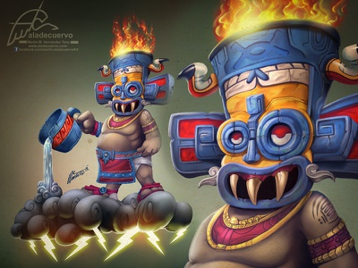 Tlalocquillo prehispanic mexico fire aztec rain thunder storm funnyillustration cartooning mexicangod tlaloc