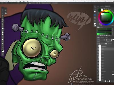 Franky Wip colos and inks humorous halloween creepy horror terror cartooning frankenstein