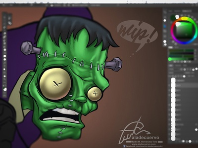 Franky Wip colos and inks humorous halloween creepy horror terror cartooning frankenstein