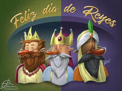 Dia de reyes aladecuervo funny humorous cartooning kings reyes-magos