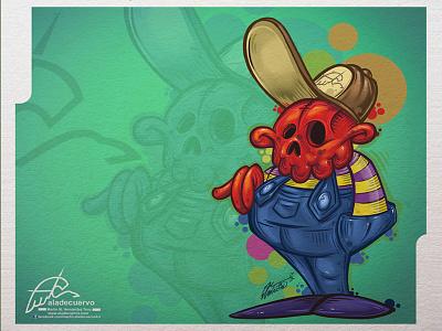 Calquito Crw aladecuervo esqueleto clipstudio photoshop wacom humorous cartooning skull calawuito