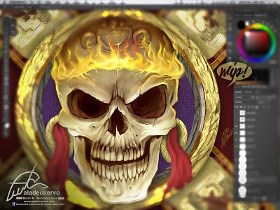 Totlecayotl prehispanic mexican muerte fanart fire skull digital-paint aztec dead god toltecayotl