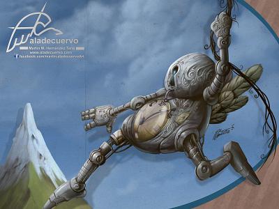 Bot With No Time concept art humorous cartooning character design mecha robot