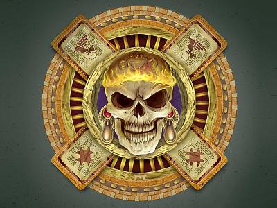 Aztec Dead God aladecuervo fuego fire craneo skull muerte warrior god aztec