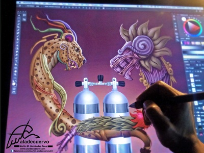 Prehipanic Gods Diver buceo serpiente emplumada diving scuba quetzalcoatl balam.kukulkan jaguar