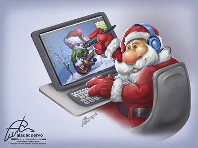 Merry Christmas! cartooning character holidays invierno winter navidad aladecuervo painting drawing digital artist santa claus christmas