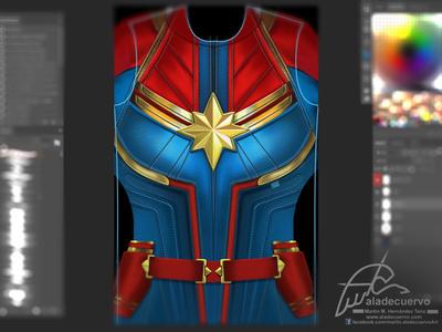 Captain Marvel  torso  Fanart Wip super hero torso aladecuervo digital paint illustration fanart comic captain marvel