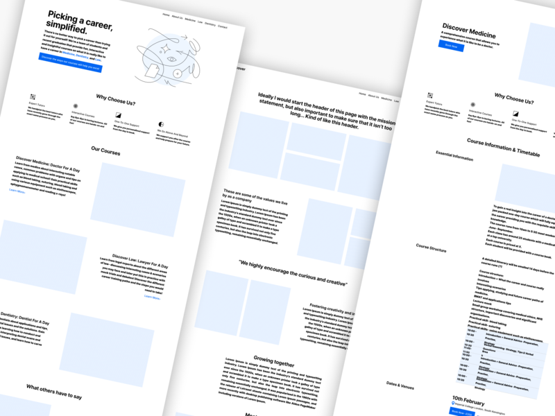 Discover Wireframes Low-fi bootstrap responsive mobile design icons schedule dental medical cms website web flat low-fi ux design webflow wireframes ui ux