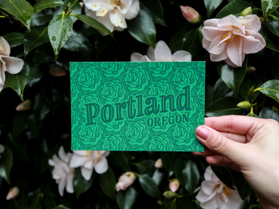 Portland Roses Postcard brand photography product photography happy mail postcard floral pattern illustration lettering hand drawn roses rose city portland