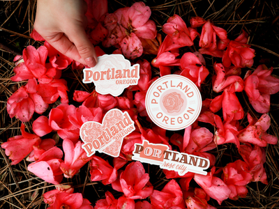 Portland Sticker Collection ipad lettering city collection custom design hand drawn hand lettering sticker oregon rose city portland