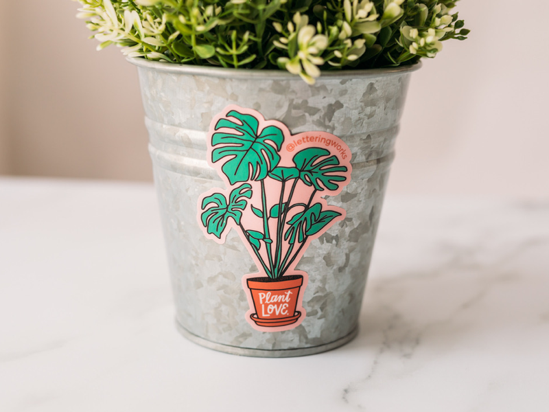 Plant Love Sticker product photography chicago designer sticker collection lettered design hand lettering hand drawn design plant sticker plant lover plant illustration plant love
