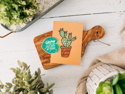 Plant Sticker + Print lettering works chicago plant illustration plant collection hand drawn sticker mini print lettered design hand lettering