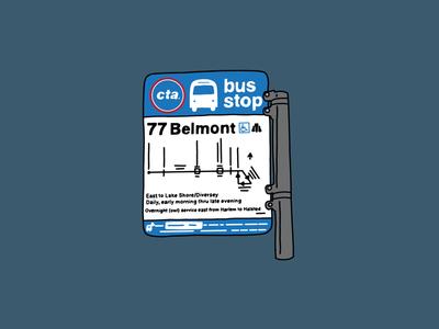 CTA Bus Stop Sign Illustration ipad illustration hand lettered design chicago artwork chicago artist belmont bus 77 belmont bus stop bus sign public transit chicago