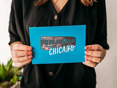 Chicago Train Foil Print foil accent art print foil print hand lettered design chicago transit blue line train l train chicago hand lettering