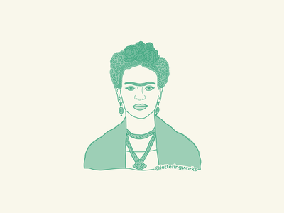 Frida Kahlo Illustration digital portrait digital illustration portrait hand drawn ipad illustration lettering works chicago designer strong female empowering women frida sticker mexican artist frida kahlo