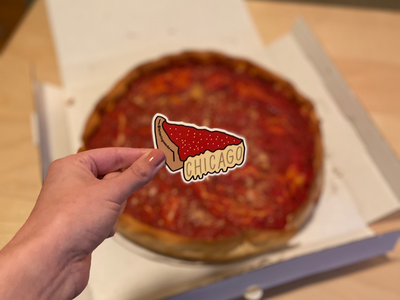 Chicago Deep Dish Pizza Sticker lettering works deep dish pizza ipad lettering hand lettered design chicago sticker pizza sticker pizza sticker chicago