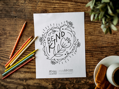 Be Kind Coloring Page floral illustration hand lettered design hand lettering vector illustration be kind coloring page