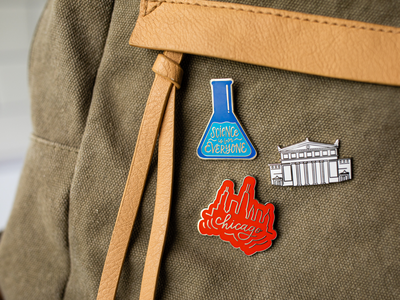 Chicago Style Enamel Pins product photography product design chicago designer lettering works enamel pins science is for everyone chicago skyline
