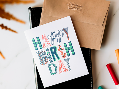 Hand-Lettered Happy Birthday Card happy mail paper goods art products product photography ipad lettering lettering works birthday card happy birth day hand lettered card hand lettering greeting card