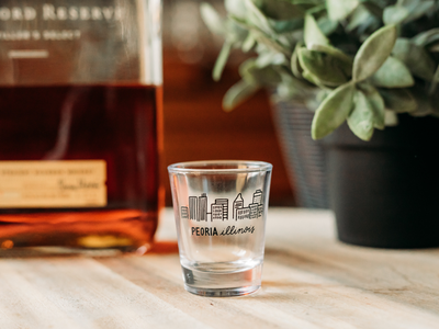 Hand-drawn Peoria Shot Glass Design
