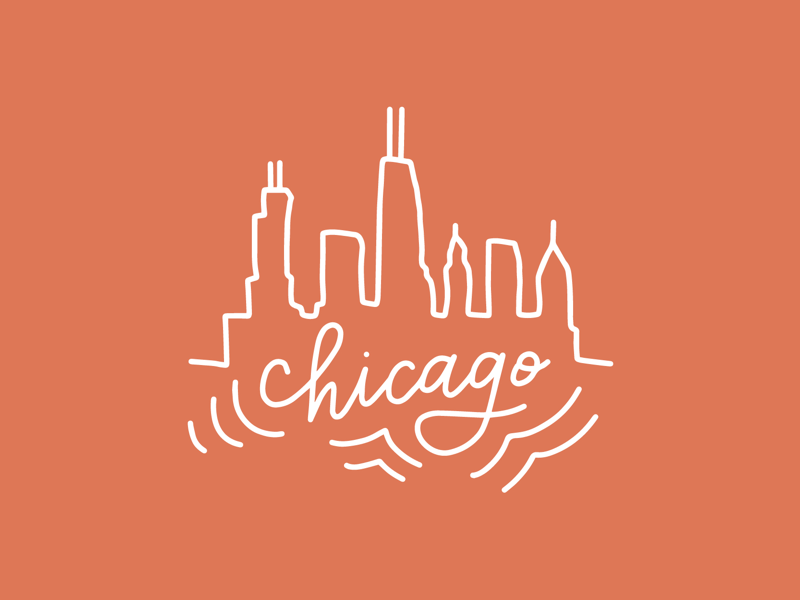 Chicago Skyline city drawing city pride ipad illustration illustration hand lettering chicago skyline chicago style