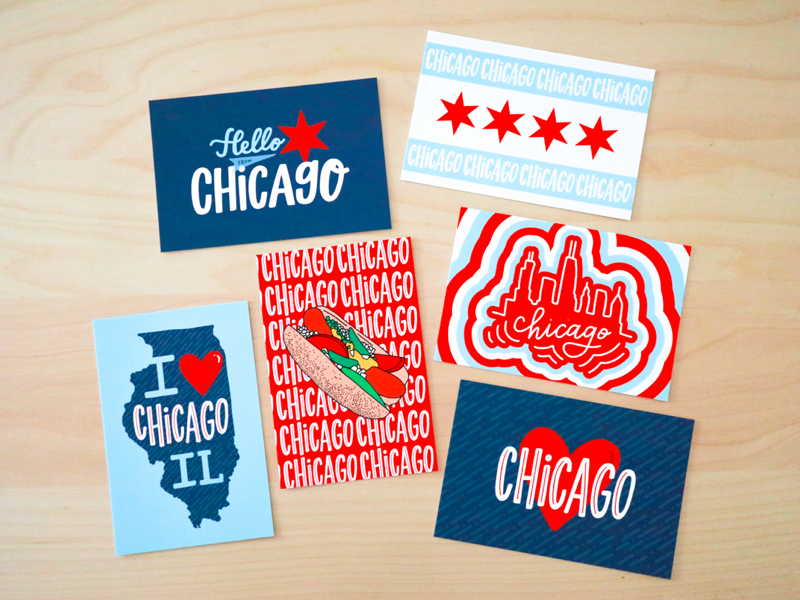 Chicago Style Postcards freelance designer graphic design product design new product postcard set ipad lettering hand drawn hand lettering postcards chicago chicago style